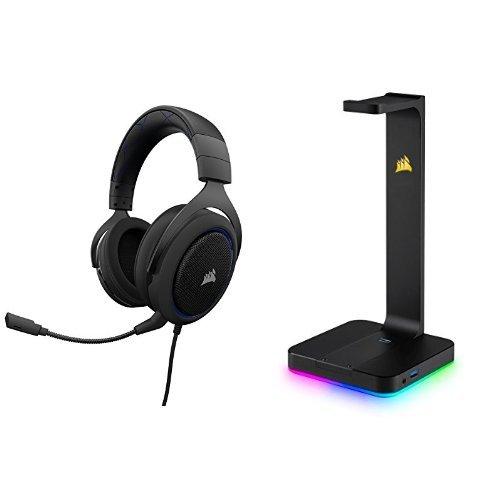 Corsair HS50 Gaming Headset / Stereo Kopfhörer, blau + Corsair CA-9011167-EU Premium Kopfhörer-Ständer ST100, schwarz