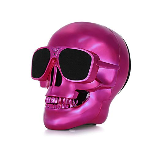 Altavoz Bluetooth Skull 4000 MAH Power Bank Inalámbrico Super Bass Stereo Sound Cool Skull Ilustraciones Altavoz con Wonderful Eyes Light para Home Party/Office/Business/Bedroom/Outdoor,Red