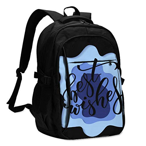 USB Large Capacity Travel Business Backpack, Best Wishes Picture 17-Inch Laptop Bag
