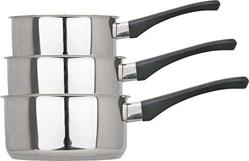 Kamberg - 0008082 - Juego 3 Cacerolas 12 / 14 / 16 cm - Acero Inoxidable Alta Calidad - Mango anti calor baquelita negra - Todos los incendios, incluida la inducción