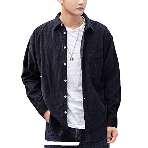 Camisas para Hombre Tendencia de otoño e Invierno de Camisas de Manga Larga de un Solo Pecho con Bolsillos Chaqueta de Camisa Suelta Informal de Moda XXL
