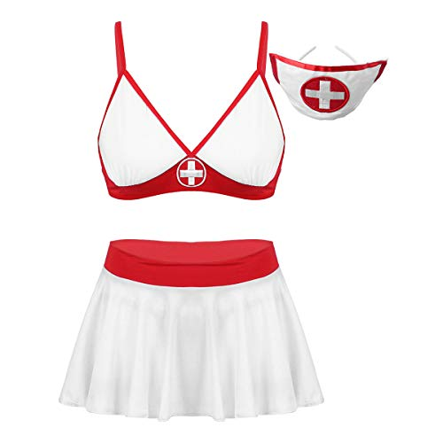 iEFiEL sexy Damen Krankenschwester Kostüm Rückenfrei & Brustfrei Bodysuit mit Haube Stringbody Dessous Uniform Kleid Halloween Cosplay Verkleidung Weiß Rock Set L