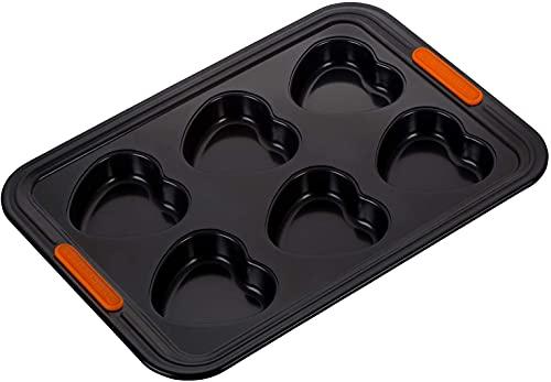 Le Creuset Moule à 6 Muffins Cœur Anti-Adhérent, sans PFOA, Résistant au Levain, En Acier Siliconé, Anthracite/Orange