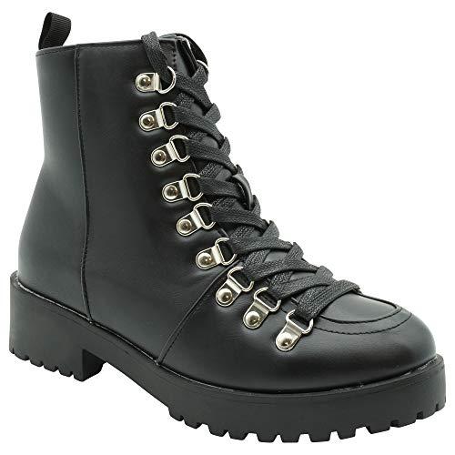 Woman's Black Boots, Lace-Up (Black, 5)