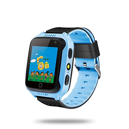 Docooler Niños Inteligente Reloj Teléfono para Localizador GPS Linterna de cámara incorporada Smartwatch con Ranura para Tarjeta SIM para iOS Android teléfonos Inteligentes