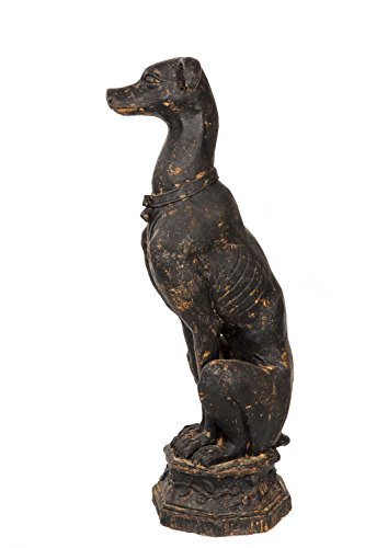 Skulptur Windhund auf Sockel Eisen Figur 30kg Garten Greyhound Torwächter