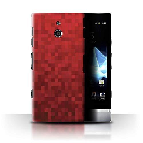 Stuff4 Hülle/Case für Sony Xperia P/LT22i / Roter Tiger Muster/Pixelmuster Tarnung Kollektion