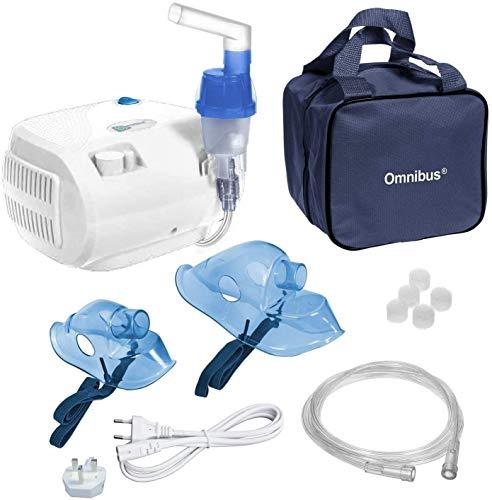 Omnibus BR-CN116B Inhaliergerät Inhalator Aerosol Therapie Vernebler Inhalation Kompressor UK Stecker und Euro Stecker !!!! (weiß)