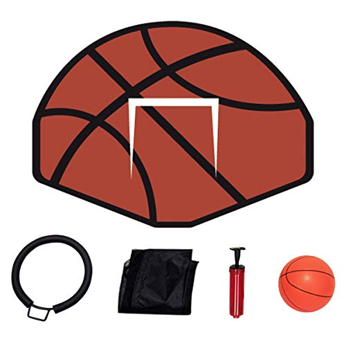 Tatub 12FT Trampoline for Kids and Adults, Outdoor Fitness Trampoline with Basketball Hoop, Enclosure, Ladder, Spring Cover Padding, Basketball
