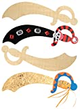 Baker Ross Piratenschwerter aus Holz für Kinder zum Dekorieren - für Kindergeburtstag und Party (4 Stück)