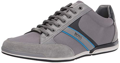Hugo Boss mens Sneakers Slipper, Pearl Grey/Black, 8 US