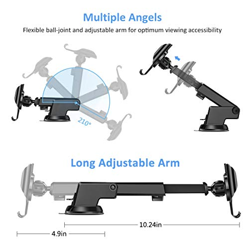 Car Phone    Mount Dashboard Windshield Air Vent 3 in 1, iVoler Long Arm Car Phone Holder for Car Adjustable Strong Suction Cell Phone Car Mount for iPhone 11 Pro X XS Max XR Samsung Galaxy Note 10 S10