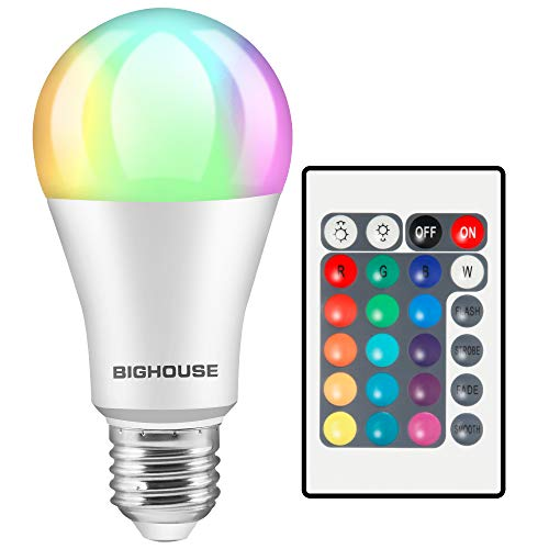 LED Glühbirne E27 Farbwechsel, ersetzt 60W, 800 Lumen, 10W RGB Glühbirne mit Fernbedienung Farbwechsel Farbige Birne warmweiß (3000 Kelvin), Edison E27 (1 Stück)