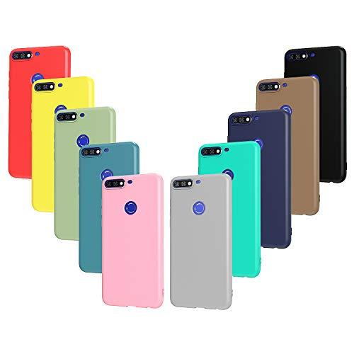 ivoler Pack de 10 Coque pour Huawei Y7 2018 / Huawei Honor 7C, Mince Souple TPU Silicone Housse Etui Coque de Protection (Noir, Gris, Bleu Foncé, Bleu Ciel, Bleu, Vert, Rose, Rouge, Jaune, Brun)