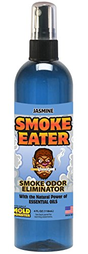 Smoke Eater - Breaks Down Smoke Odor at The Molecular Level - Eliminates Cigarette, Cigar or Pot Smoke On Clothes, in Cars, Boats, Homes, and Office - 4 oz Travel Spray Bottle (Jasmine)