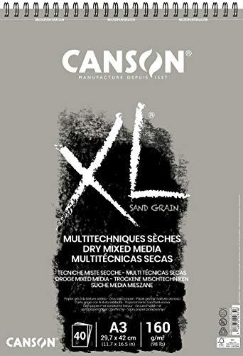 Canson XL Touch Arenoso 160g Álbum Espiral A3 40H Gris