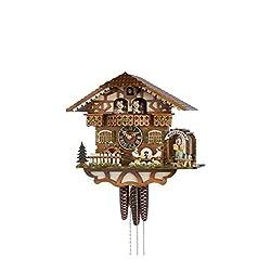 1 Day Musical Bavarian Chalet Cuckoo Clock with 2 Beer Drinkers in Biergarten by Hönes