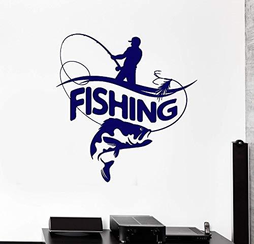 wZUN Decoración del hogar Pegatina de Vinilo calcomanía de Pared Pescador caña de Pescar pez Grande Logo Pegatina decoración Papel Pintado 57x60cm