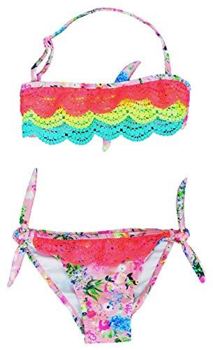 VanessaShop Mooi Meisjes Neckholder Bikini met kleurrijke kant en leuke bloemenprint in de maten 104-158