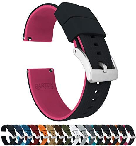 BARTON WATCH BANDS Reloj de silicona Elite Bandas de liberación rápida Elija Color de la correa Ancho para Unisex-adulto 18mm Rosa