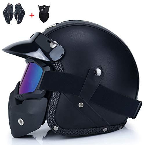 Unisex PU lederen helmen, verschillende stijlen om uit te kiezen 3/4 motorfiets chopper fietshelm open gezicht vintage motorhelm met brilmasker zwart