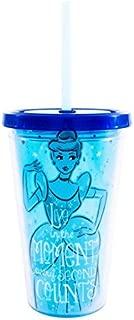 Silver Buffalo DN32087Q Disney's Princess Cinderella Plastic Cold Cup with Reusable Glass Slipper Ice Cubes, 16 oz, Multicolor