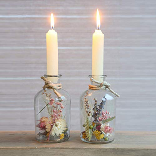 Trockenblumen im Glas mit Kerzen, Trockenblumen Set mit Vase, 2 Stück, getrocknete Blumen deko, Vase mit Blumen bunt, pflanzen im glas, flaschen Kerzenhalter, Geschenke für Frauen, ewige Blumen
