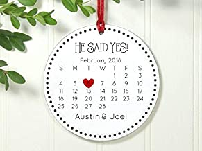 Rainbow Store He Said Yes Ornament Gift for Gay Couple Just Engaged Same Sex Exclusive 3 5/8 Inch Porcelain Christmas Ornament Ceramic Ornament