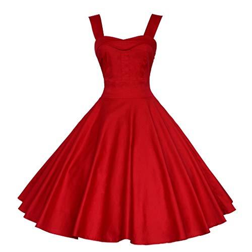 BURFLY Sommerkleid Jahre Retro Damen Country Style Rock Kurzes Kleid Ärmellos Swing Cocktail Party Kleid