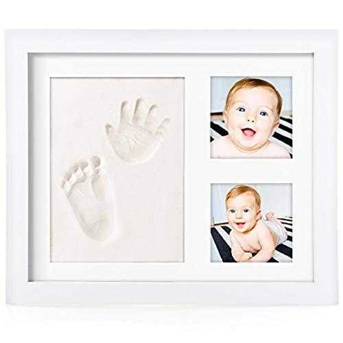 PicoTinaS. Marco de fotos con huella para el recuerdo de mano y pie del bebé, kit de madera con molde de arcilla blanca, regalo original para recién nacidos.