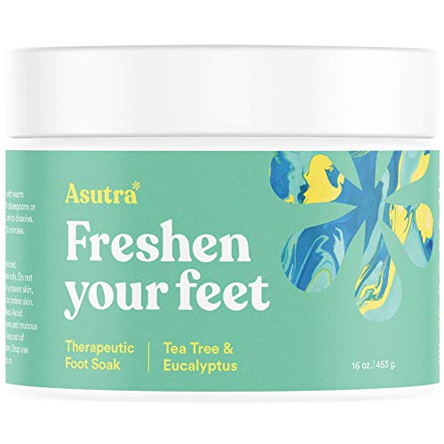 ASUTRA Therapeutic Foot Soak + Pedicure Pumice Stone (Dead Sea Salt w/ Tea Tree & Eucalyptus Oils), 16 oz | Reduces Swelling | Relieves Itching & Burning | Fights Foot Odor