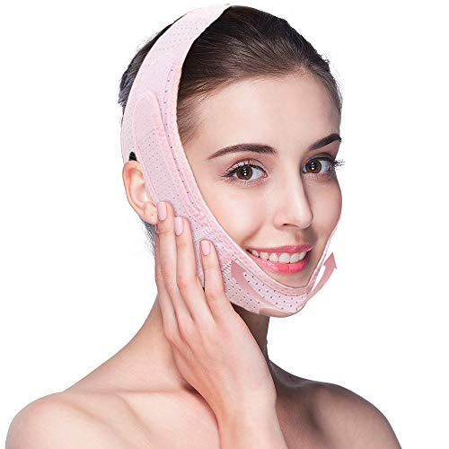2020 Summer Facial Slimming Strap, Double Chin Reducer V Line Mask Adjustable Lifting Chin Strap Breathable Ultra-thin Sleeping Face Lifting Belt for Women Lifting Firming(Pink)