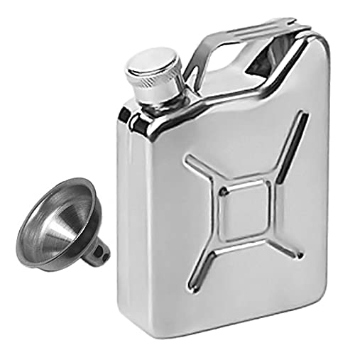 BJKKM De múltiples Fines 5oz Hip Frasco con Embudo portátil Whiskey Wine Pot Creative Steal Acero Inoxidable Flagón para Whiskey Licor Hombres Regalo para almacenar Whisky (Color : Silver)