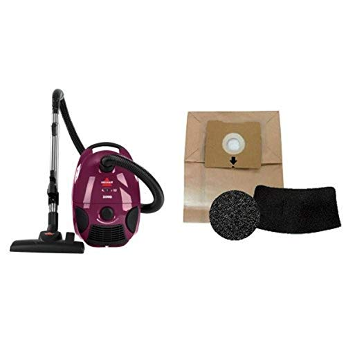 Filter Replacement Bundle - BISSELL Zing Bagged Canister Vacuum, Maroon, 4122 - Corded + Bissell 1480 Zing Canister Vacuum Accessory Kit