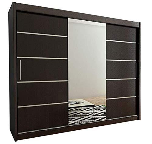 Kryspol Schwebetürenschrank Verona 2-250cm mit Spiegel Kleiderschrank mit Kleiderstange und Einlegeboden Schlafzimmer- Wohnzimmerschrank Schiebetüren Modern Design (Wenge)
