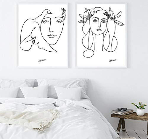 Picasso Strichzeichnungen Zeichnung Leinwand Kunstdrucke Skizzen Frau Blumenstrauß des Friedens Malerei Poster Minimalistische Wandkunst Home Wanddekoration 2 Stück A2 42X60 cm * 2 ohne Rahmen