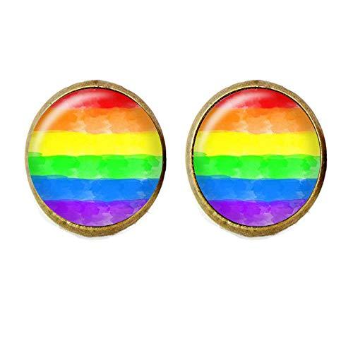 Regenbogen-Pride-Flagge Manschettenknöpfe, Aquarellfarbe, Gay Pride, LGBT Glasschmuck