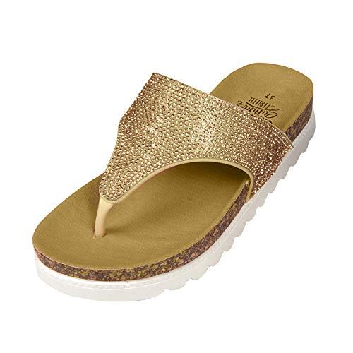 PERLETTI Sandalias de Dedo para Mujer con Estrás - Chanclas Chica con Cristales para Playa Piscina Casa - Pantuflas de Verano con Plataforma Cómodas y Lijeras - 3 Tallas (Oro, 37 EU)