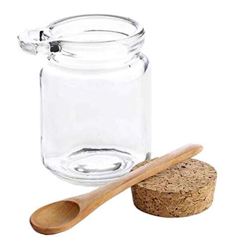 1 x 250 ml tarro de almacenamiento vidrio transparente con tapón de corcho y cuchara de madera contenedor de almacenamiento de alimentos para cocina baño cosméticos sal miel frutos secos caramelos