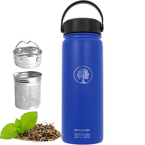 amapodo Bottiglia in acciaio inox 600ml con Filtro - Perfetto per il Tè al Caffè in Acqua per andare, Thermos Bottiglia BPA free, Bottiglia d'Acqua, Tazza Caffè blu