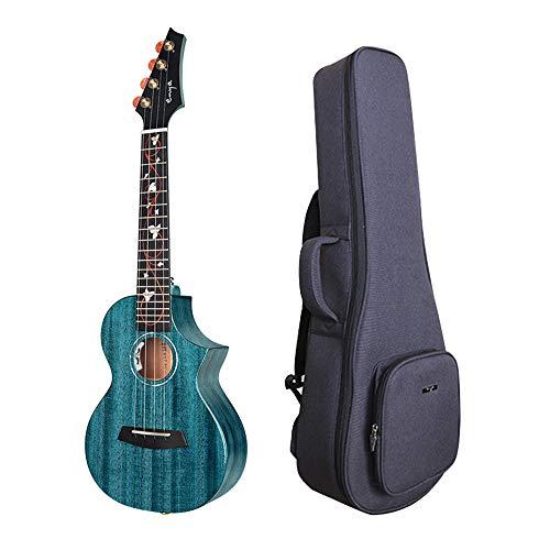 Enya 23Inch Akustische elektrische Ukulele Konzert Cutaway Ukulele EQ Blau mit AAA Solide Mahagoni Holz Ukulele 20mm Gepolsterte Ukulele Tasche