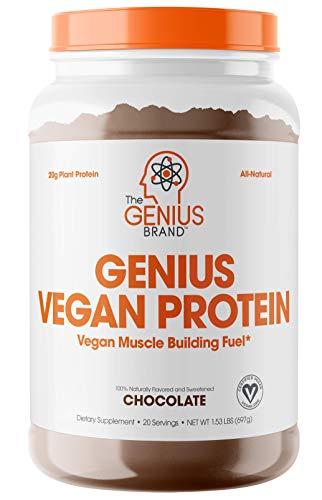 Genius Vegan Protein Powder – Plant Based Lean Muscle Building Shake | Best Pea + Pumpkin Protein Sources (Dairy Free)