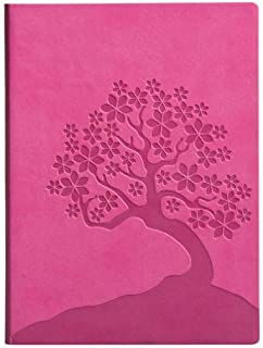 Eccolo Cherry Blossoms Writing Journal, 256 Lined Page Notebook, Flexible Faux Leather Cover