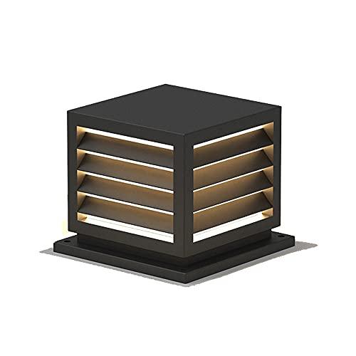 QIYHB Faro de Columna a Prueba de Agua Impermeable al Aire Libre Acabado en Negro Lámpara de Pilar Cuadrado Aluminio Metal Luz de Poste Externa E27 Decoración Balcón Patio Iluminación de Paisaje