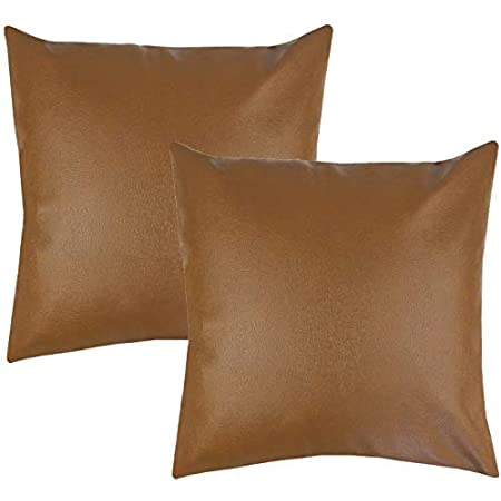 Woven Nook Decorative Throw Pillow Covers 100 Polyester Faux Leather Milo Set Pack Of 2 18 X 18 Home Kitchen