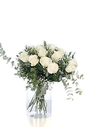 Ramo 12 Rosas Blancas | ENTREGA GRATIS 24 HORAS | Flores Naturales a Domicilio Blossom® | Ramo de Rosas Naturales a Domicilio Frescas y Recién Cortadas