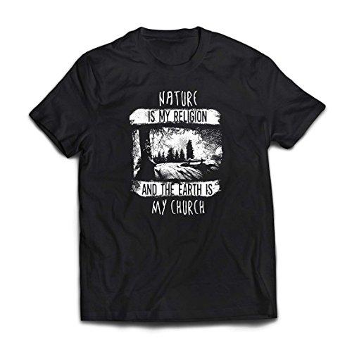 lepni.me Camisetas Hombre La Naturaleza es mi religión y la Tierra es mi Iglesia: al Aire Libre, Camping, Amante de la Aventura (Large Negro Multicolor)