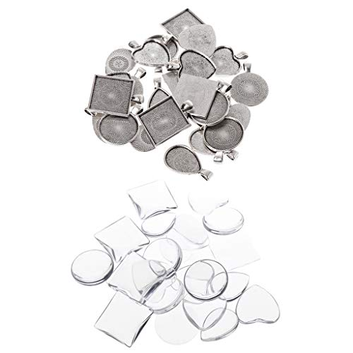 Desconocido Generic 48 Pcs/Set Pendant Tray DIY Jewelry Base Heart-Shape Square Stamping Handmade Alloy Professional Charms Necklace Making Creative Antique Gifts