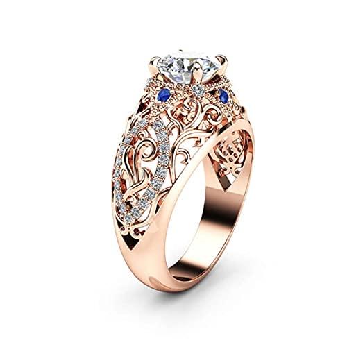 HCMA Anillo de Oro Rosa de 14 Quilates para Mujer, joyería de Boda, Diamante y Flor, Anillo de Zafiro de Compromiso, Regalo de joyería