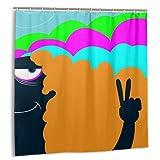 Bestpillow Set de Cortinas de baño para decoración de baño,un Fumador de Marihuana psicodélico y Colorido,Cortinas de baño de Tela con Ganchos 180cmx180cm